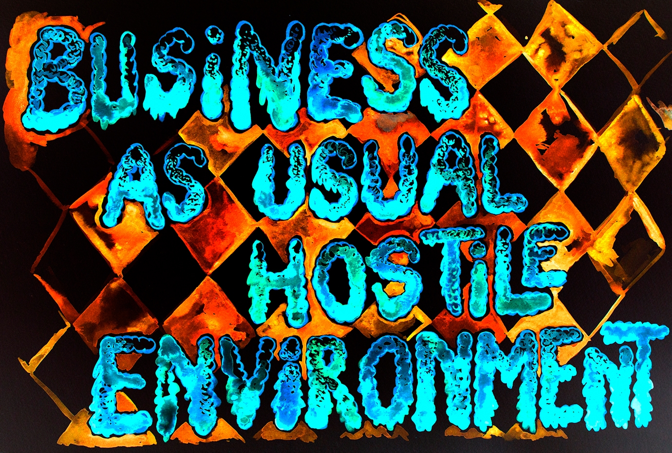 Conjuring rest for new infrastructure – business as usual : hostile environment (watercolour series, 2021)