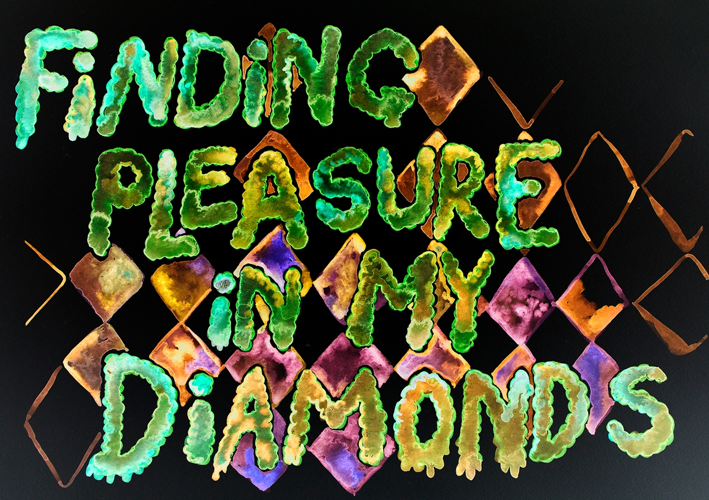Conjuring rest for a new infrastructure – finding pleasure in my diamonds, inverted (watercolour series, 2021)