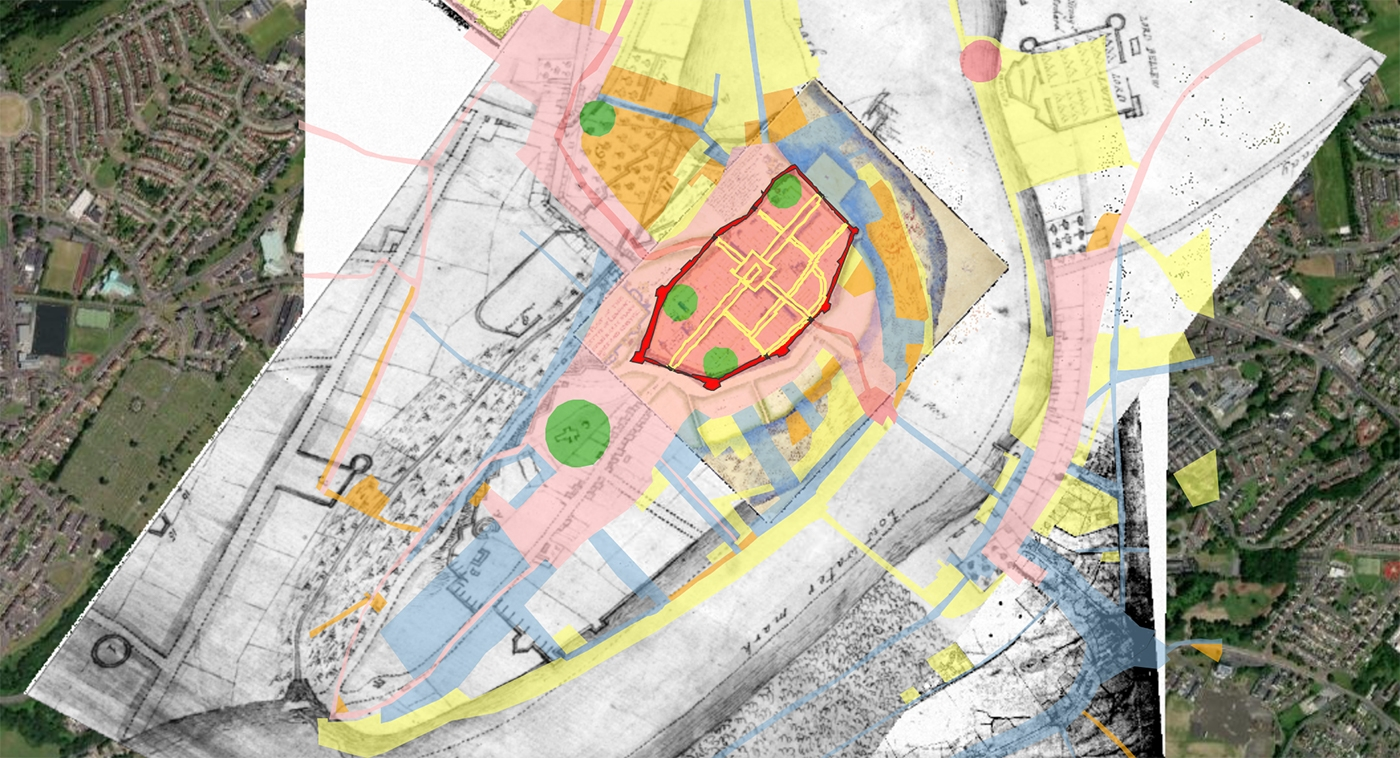 Screenshot of digital atlas of Derry~Londonderry showing layers of development since Medieval age, created by the Royal Irish Academy
