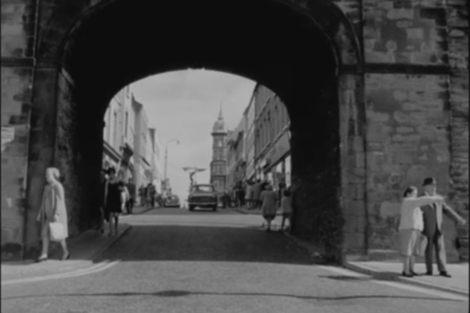 Still of English Planned Irish Towns film showing Butcher's Gate, Derry~Londonderry from RTÉ Archives (1969)