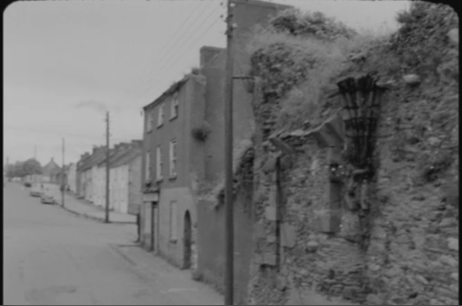 Still of English Planned Irish Towns film showing a street in Irishtown, County Wexford from RTÉ Archives (1969)