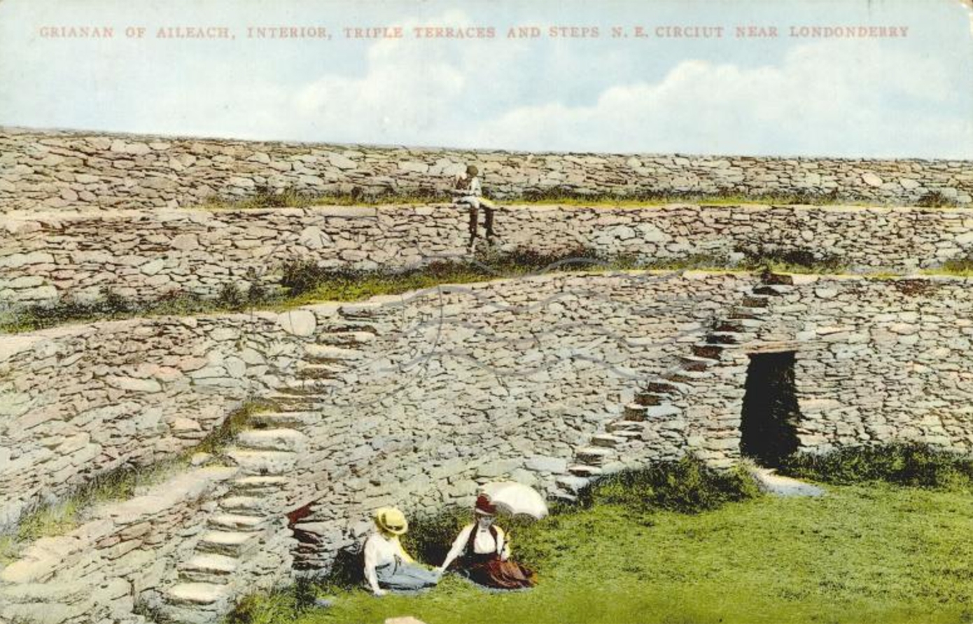 Postcard of Grianán Ailigh ancient stone circle, County Donegal