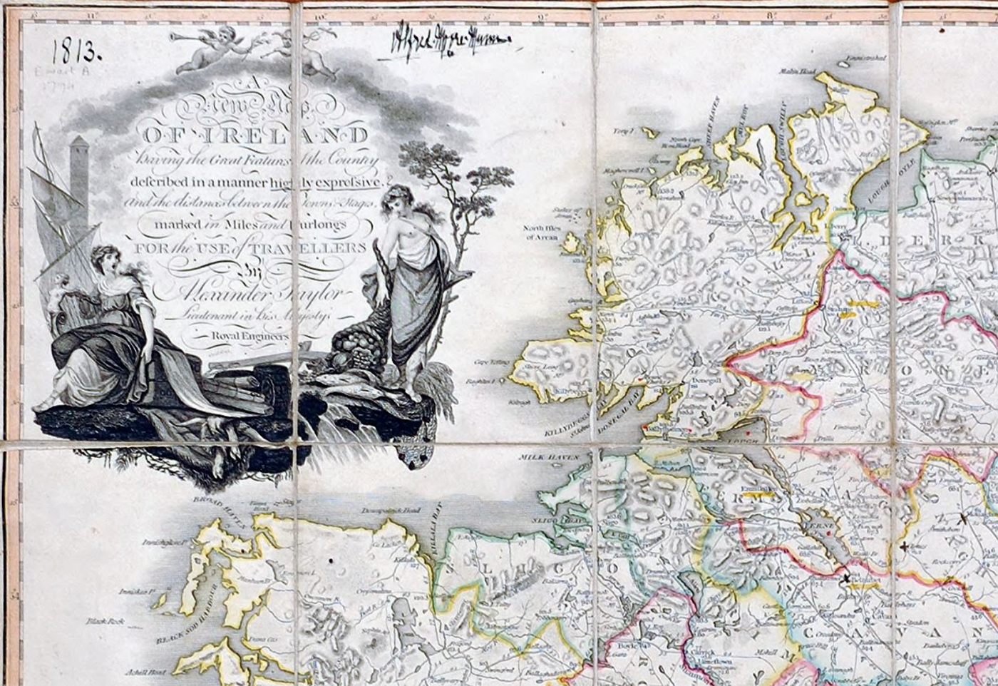 Map of Ireland by Alexander Taylor (1794), from the Ewart Map Collection. Courtesy of Queen's University Belfast.