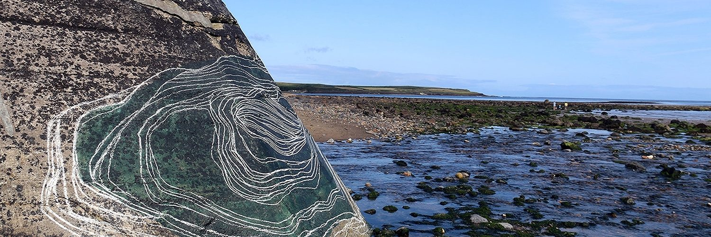 Kiera O Toole Day 3 Drawing Wonder III detail chalk algae and sea water on concrete structure Dunmoran Strand Sligo Ireland 27th July 2019 2000 pix