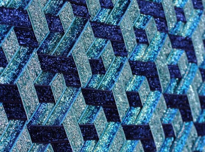 Grace McMurray, George Michael (detail), 2018, Glitter ribbon weave frame, 31 x 41cm