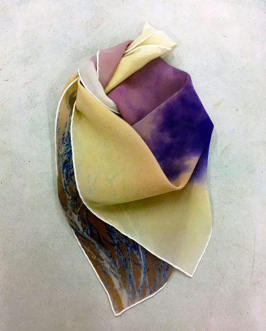 'Shadow Dial Studies IIv; East facing, Snow Light Reversals' silk scarf – Joan Alexander
